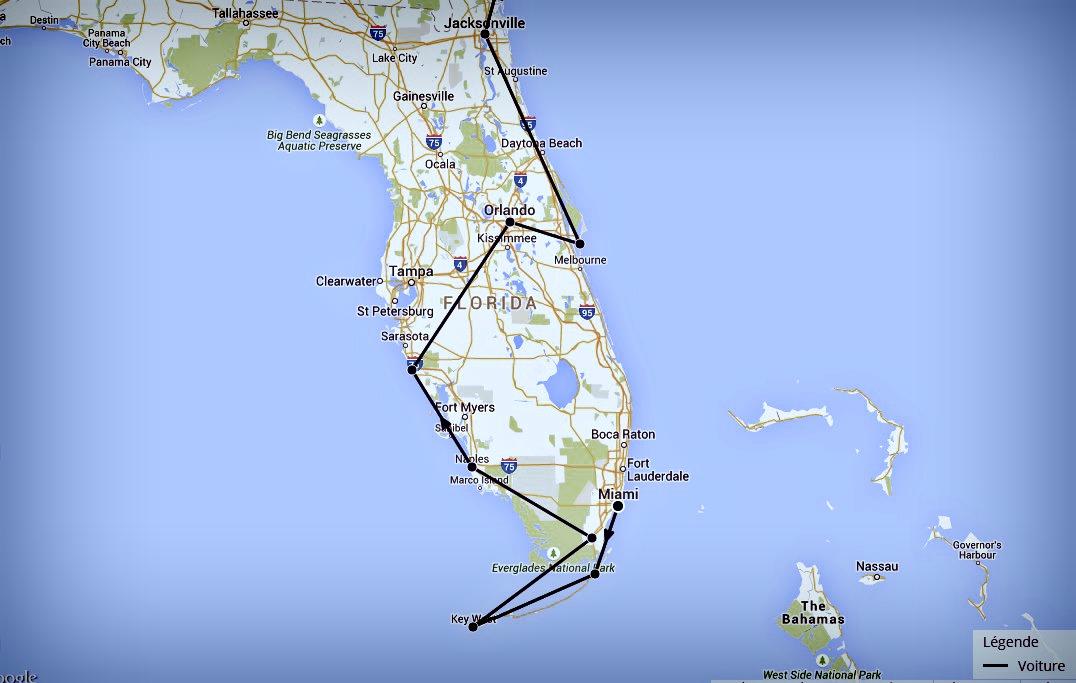 Carte itinéraire Floride