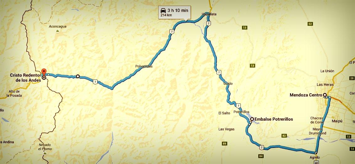 Itinéraire excursion haute montagne christ rédempteur mendoza