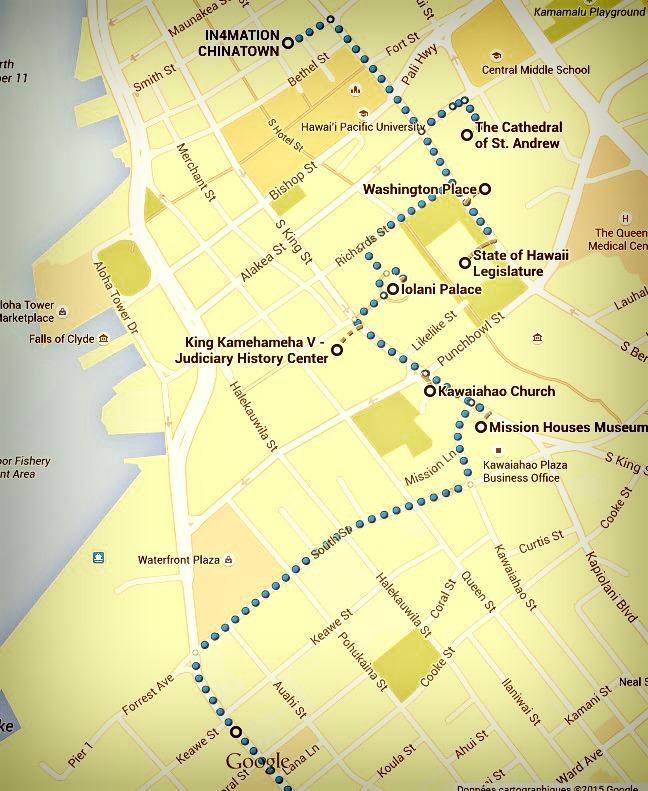 Zoom début itinéraire honolulu jour 2