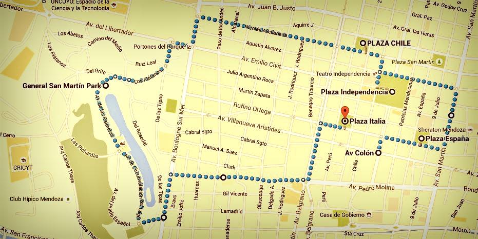 Plan itinéraire mendoza argentine