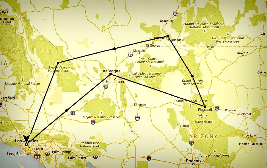 Plan itinéraire LA las vegas parcs nationaux