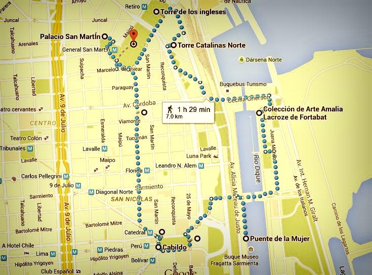 Plan itinéraire J1 Buenos aires