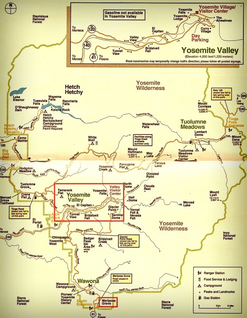 Plan yosemite californie